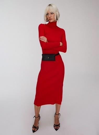 People By Fabrika Yırtmaç ve Bağlama Detaylı Triko Elbise Kırmızı